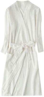 16d1c6f0c4 Wofupowga Mens Nightwear Solid Color Waffle Summer 3 4 Sleeve Thin Bathing  Robes M