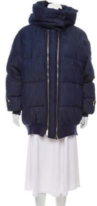 Stella McCartney 2016 Mietta Denim Puffer Coat
