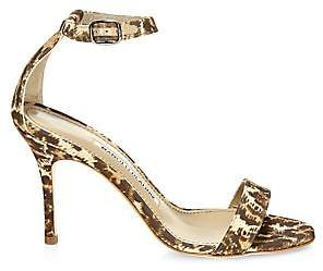 Manolo Blahnik Women's Chaos Ankle-Strap Leopard-Print Cotton Sandals