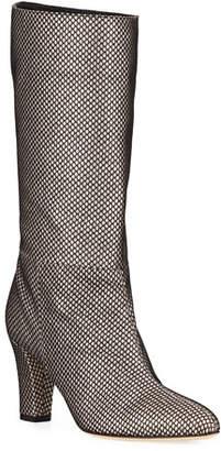 Sarah Jessica Parker Reign Glitter Mesh Block-Heel Boots