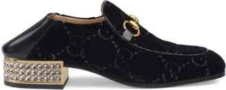 c7a747ed187 Gucci Horsebit GG velvet loafer with crystals