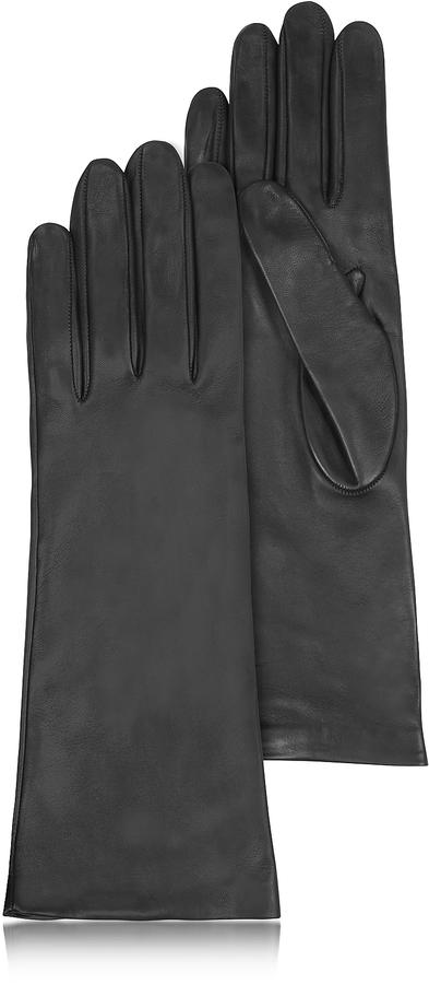 Forzieri Women's Silk Lined Black Italian Leather Long Gloves