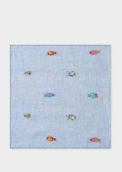 Paul Smith Men's Light Blue Embroidered 'Fish' Pocket Square
