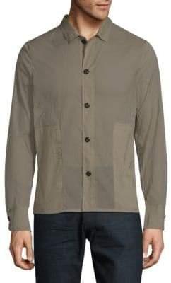 Textured Long-Sleeve Button-Down Shirt