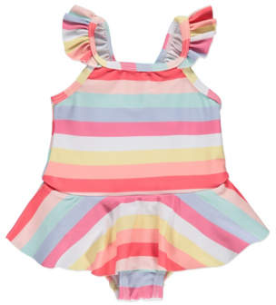 George Striped Frill Swimsuit