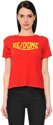 RE/DONE Re Done Logo Printed Cotton Jersey T-Shirt