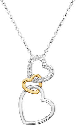 Macy's Gold over Sterling Silver and Sterling Silver Heart Necklace, Diamond Accent Three Interlocking Heart Pendant