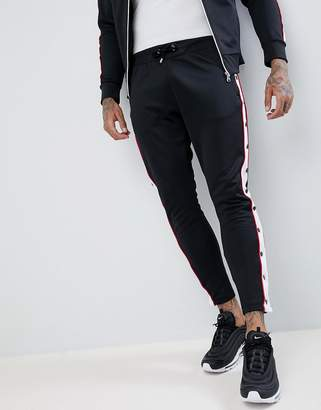 Couture The Club Muscle Fit Skinny Joggers In Black With Poppers