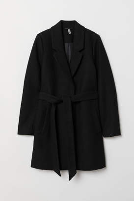 H&M Coat with Tie Belt - Black