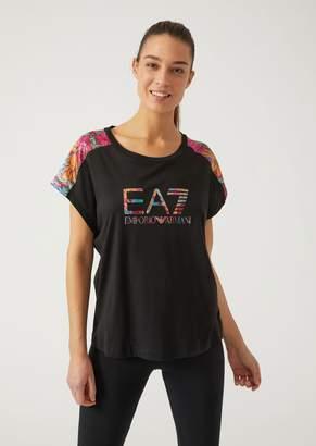 Emporio Armani Ea7 Pima Cotton T-Shirt With Floral Inserts