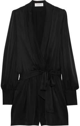 Zimmermann Wrap-effect Washed-silk Playsuit