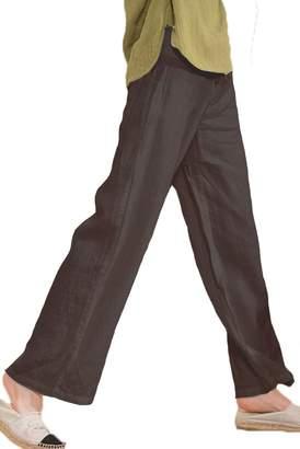 Les umes Women's Linen Casual Summer Beach Loose Baggy Long Pants (16-18)/XXXL