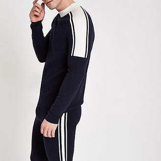 River Island Navy slim fit turtle neck long sleeve sweater
