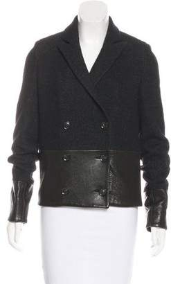 J Brand Leather-Trimmed Wool Jacket
