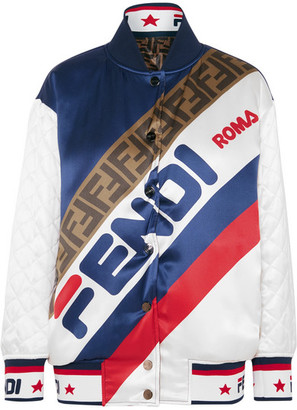 Fendi Reversible Quilted Printed Silk-satin Bomber Jacket - Navy