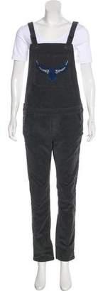 Zadig & Voltaire Corduroy Mid-Rise Straight-Leg Overalls