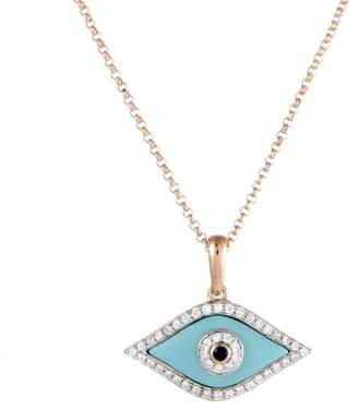 18K Rose Gold with 0.15ct Diamond, 0.02ct Sapphire and Turquoise Evil Eye Pendant Necklace
