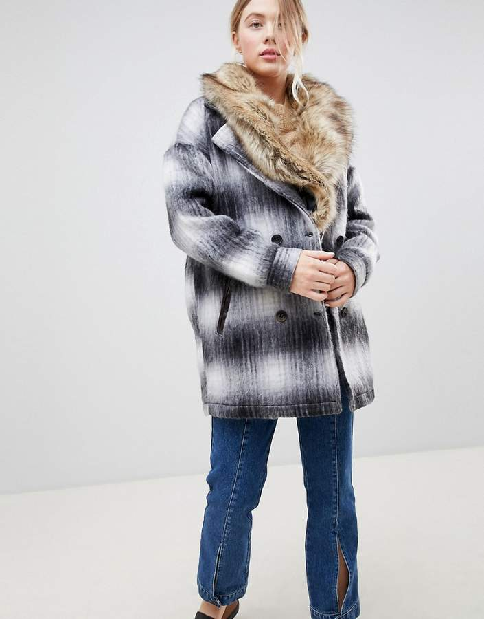 Wool Check Coat With Faux Fur Collar
