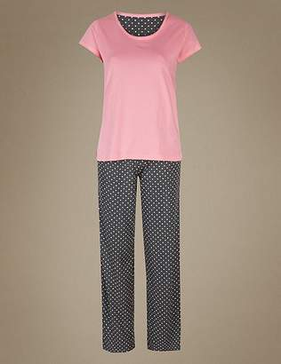 Marks and Spencer Pure Cotton Spot Short Sleeve Pyjamas Set
