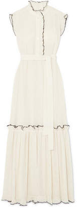 Tory Burch Meredith Ruffled Crinkled-georgette Maxi Dress - Ivory