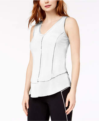 Bar III Ribbed Layered-Look V-Neck Top