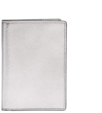 Smythson Panama Leather Passport Holder - Mens - Silver