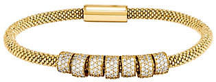 "Italian Silver 7"" Crystal Station Magnetic Bracelet, 13.0g"