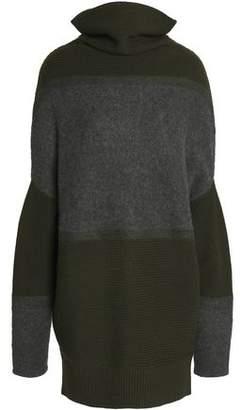 Amanda Wakeley Paneled Ribbed And Mélange Wool-Blend Sweater