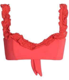 Nicholas Crochet-trimmed Knotted Bandeau Bikini Top
