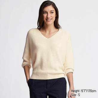 Uniqlo Women's 3d Cotton Cocoon V-Neck 3/4 Sleeve Sweater