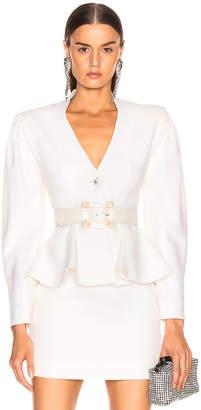 Alessandra Rich Peplum Jacket in White | FWRD