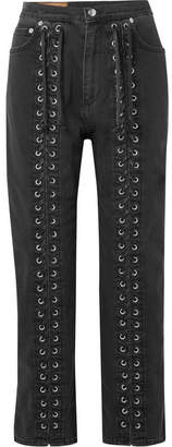 McQ Lace-up High-rise Straight-leg Jeans - Black