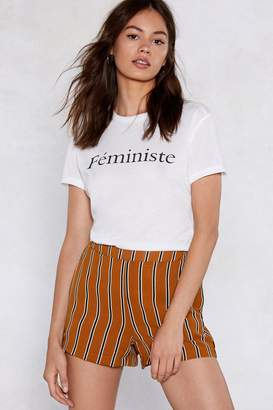 Nasty Gal Stripe Up a Friendship High-Waisted Shorts