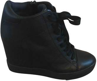 DKNY Black Leather Trainers