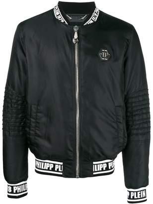 Philipp Plein contrast logo bomber jacket
