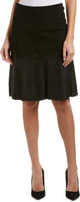 Elie Tahari Leather-Trim A-Line Skirt