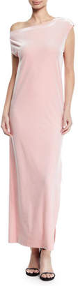 Norma Kamali Velvet Drop-Shoulder Dress, Dusty Pink