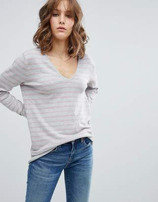 MBYM Stripe V Neck Jumper