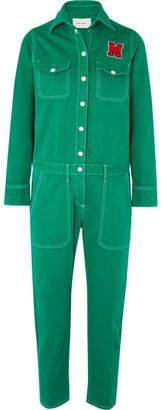 Mira Mikati Appliquéd Cotton-twill Jumpsuit - Green