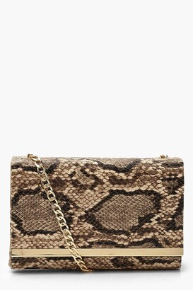 boohoo Faux Snake Structured Suedette Clutch Bag