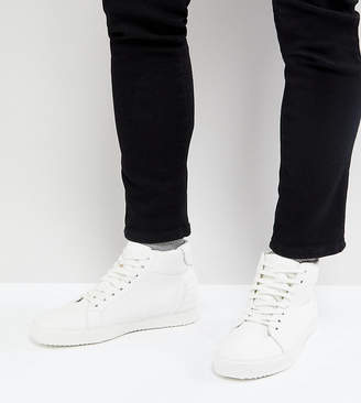 Asos Wide Fit High Top Sneakers In White Tumbled Leather Look
