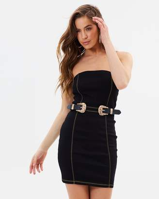 Missguided Strapless Buckle Detail Denim Dress