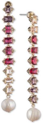 Carolee Crystal & Freshwater Pearl (12mm) Linear Drop Earrings
