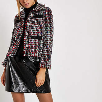 River Island Womens Red check boucle jacket