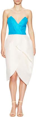 Monique Lhuillier Strapless Tulip Dress