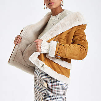 River Island Tan faux fur aviator jacket