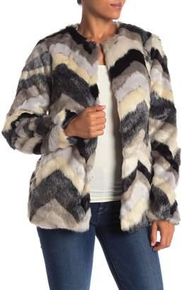 Fate Chevron Faux Fur Jacket