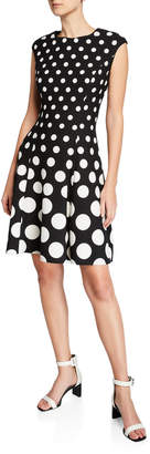 London Times Dot Print Pleated Fit-and-Flare Dress
