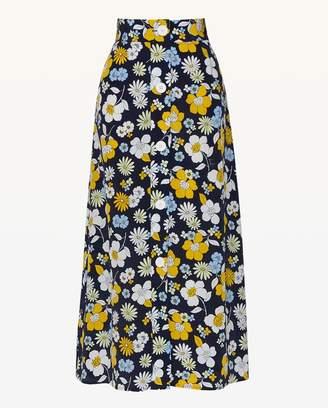 Juicy Couture Garden Floral Silk Midi Skirt