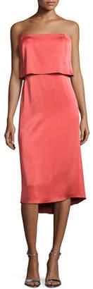 Halston Strapless Satin Popover Cocktail Dress